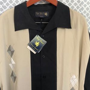 NatNast luxury tall plus 4xt silk button down NEW